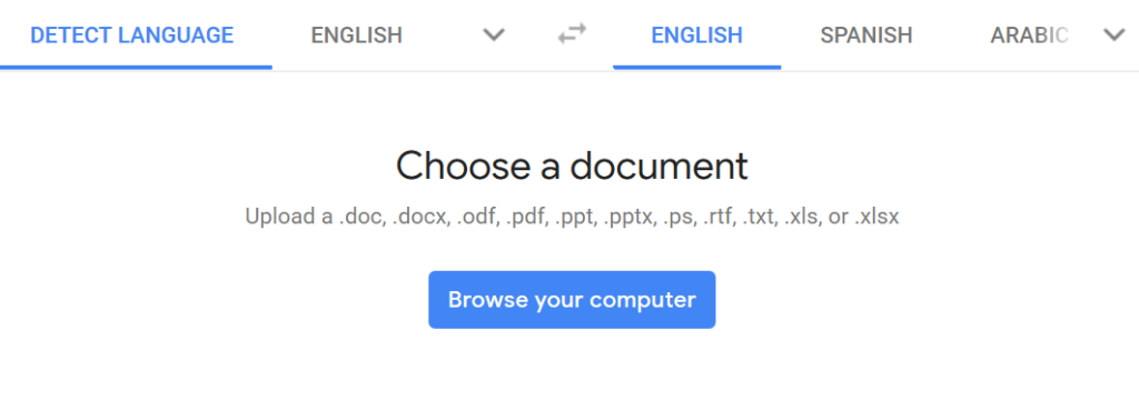 Translate PDF files with Google Translate